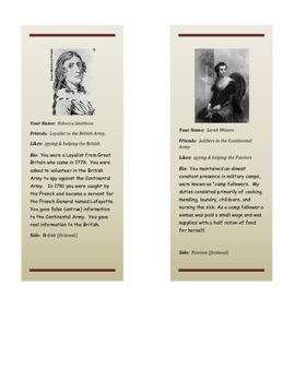 Revolutionary War Era Role Cards