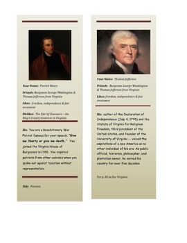 Revolutionary War Era Role Cards