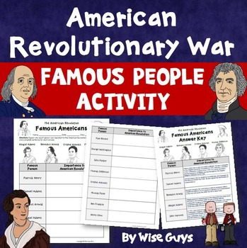 American Revolution Revolutionary War Famous People Activity