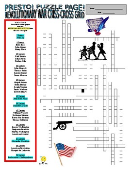 Revolutionary War : Famous People Puzzle Page (Wordsearch and Criss-Cross)