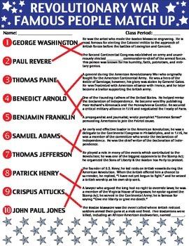 Revolutionary War: Famous People Worksheet/Printable/Homework