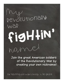 Revolutionary War Fighting Names {Freebie}