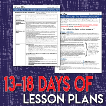 Revolutionary War Full Unit Bundle Critical Thinking and Assessment