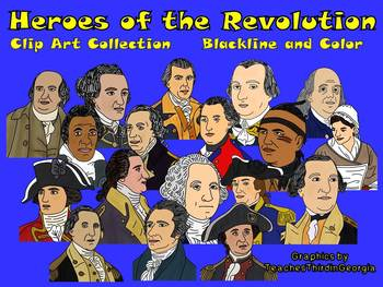 Revolutionary War Heroes Portrait Clip Art Collection-Color and Blackline