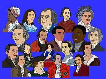 Revolutionary War Heroes Portrait Clip Art Collection-Color and Blackline