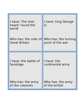 Revolutionary War I Have Who Has Game
