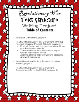 Revolutionary War Informational Text Structure Writing Project and Comparison
