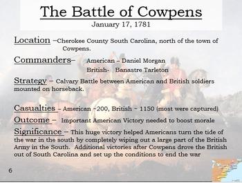 Revolutionary War Interactive Battle Map (Part II) and Worksheet w/ key