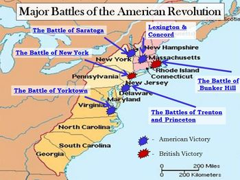 Revolutionary War Interactive Battle Map and Worksheet w/ key