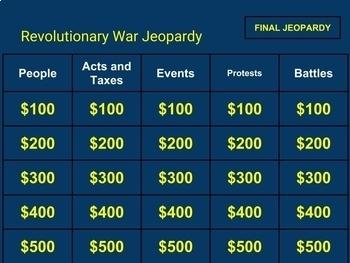 Revolutionary War Jeopardy for Google Classrooms
