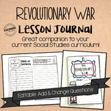 Revolutionary War Journal for 4th and 5th grade EDITABLE S