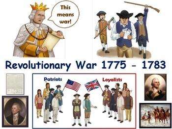 Revolutionary War Lesson & Flashcards task cards study guide exam prep 2018 2019