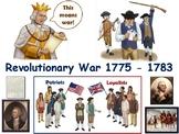 Revolutionary War Lesson & Flashcards task cards study gui