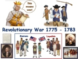 Revolutionary War Lesson & Flashcards task cards study gui