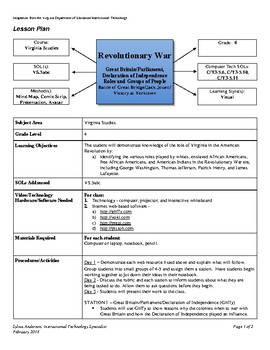 Revolutionary War - Lesson Plan
