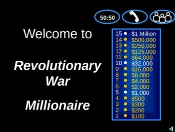 Revolutionary War Game( Who Wants To Be A Millionaire)