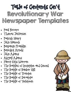 Revolutionary War Newspaper Graphic Organizers