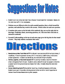 Revolutionary War Notes and Activities Virginia Studies SOLs 5a-5d