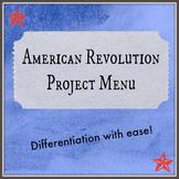 Revolutionary War Project Menu