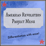 Revolutionary War Project Menu