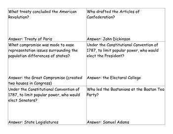 Revolutionary War Quiz Quiz Trade Review Activity