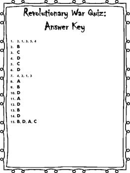 Revolutionary War Quiz / Test