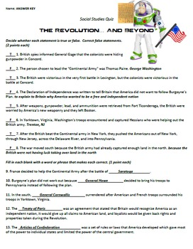 Revolutionary War Quiz and Answer Key