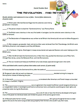 Revolutionary War Quiz and Answer Key
