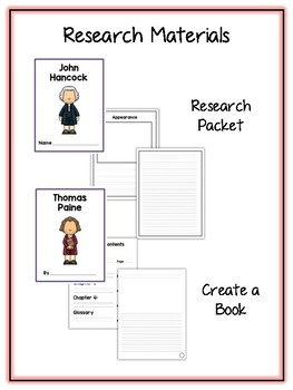 Revolutionary War Research Project -12 People Vocab Cards, Packet, Book & More
