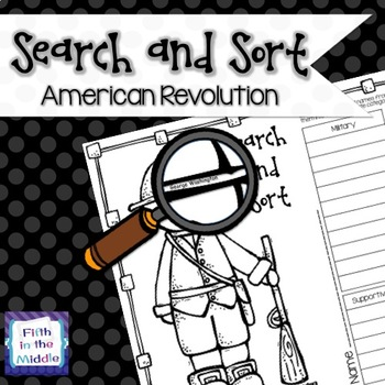Revolutionary War Search and Sort for Upper Elementary