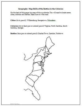 Revolutionary War South Battles Yorktown Worksheet