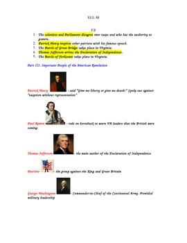 Revolutionary War Study Guide