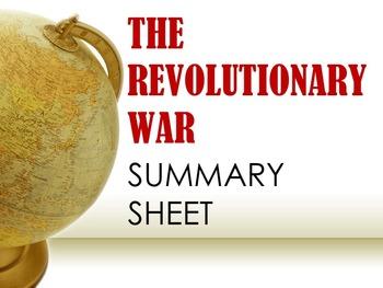 Revolutionary War Summary Sheet
