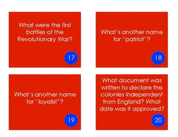 Revolutionary War Task Cards and Answer Key