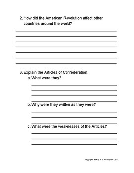 Revolutionary War & The Articles of Confederation Test