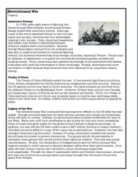 Revolutionary War:  The Legacy