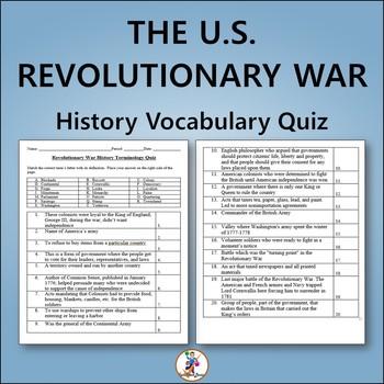 Revolutionary War US History Vocabulary Quiz and Word List