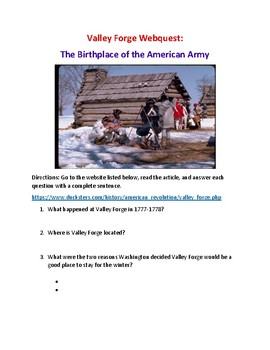 Revolutionary War Valley Forge Webquest (With Key!)