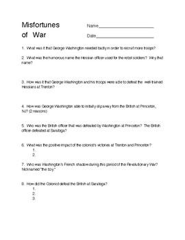 Revolutionary War Video Sheets, TLC