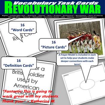 Revolutionary War Vocabulary Task Cards