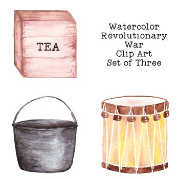 Revolutionary War Watercolor Clip Art PNG JPG Commercial or Personal