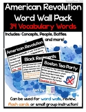Revolutionary War Word Wall- 34 Vocab Pack