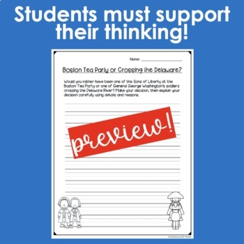 Revolutionary War Writing Prompts- 7 Critical Thinking Prompts
