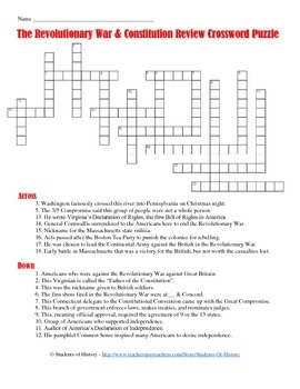 Revolutionary War and Constitution Crossword Puzzle