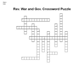 Revolutionary War and U.S. Government Crossword Puzzle