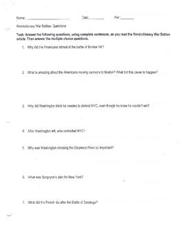Revolutionary War battles Question Sheet