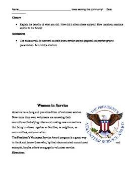 Women of the Revolutionary War: A Service Project