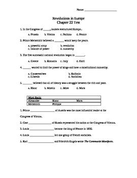 Revolutions Unit, Chapter 22 Test