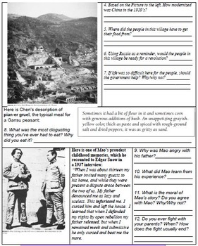 Revolutions in CHINA - Primary Source  Worksheets & Timeline Activity BUNDLE