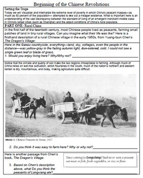 Revolutions in CHINA - Primary Source  Worksheets & Timeli